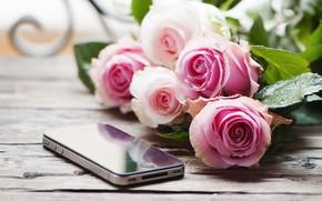 Картинка стол, розы, букет, смартфон, Oxana Denezhkina