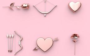 Картинка рендеринг, фон, розовый, роза, Сердце