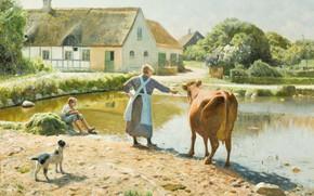 Обои Peder Mørk Mønsted, Петер Мёрк Мёнстед, The cow refuses to drink, датский живописец, Корова отказывается ...