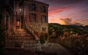 Картинка вечер, лестница, здание