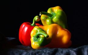Картинка еда, перец, черный фон, натюрморт, овощи, композиция, болгарский