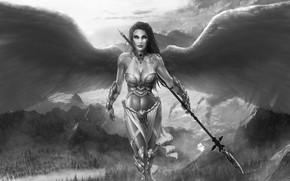 Картинка девушка, ангел, воин, копьё