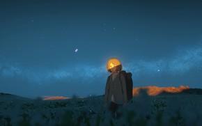 Картинка поле, небо, девушка, ночь, рюкзак