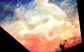 Картинка небо, котенок, дождь, бабочка, радуга