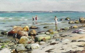Картинка датский живописец, 1921, Петер Мёрк Мёнстед, Peder Mørk Mønsted, Danish realist painter, Young women bathing …