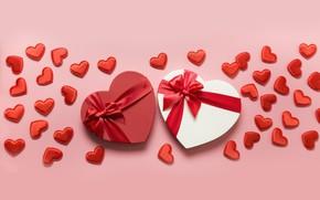 Картинка фон, праздник, коробка, сердечки, день влюбленных