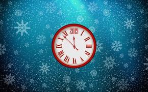 Картинка Минимализм, Часы, Рождество, Снежинки, Фон, Новый год, Праздник, Арт, Christmas, Art, Настроение, Snow, New Year, ...
