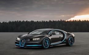Картинка Bugatti, Black, 2017, Chiron
