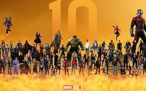 Картинка коллаж, актёры, Superheroes, персонажи, Marvel, супергерои, жёлтый фон, 10 Year