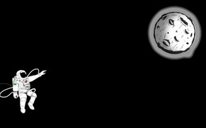 Картинка Moon, minimalism, digital art, artwork, black background, situation, astronaut, spacesuit, simple background, hemlmet