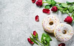 Картинка розы, лепестки, пончики
