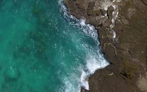 Картинка берег, океан, скалы, Birds Eye View, Exotic Brazilian Beach With Crashin
