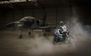 Картинка Самолёт, Мотоспорт, 2021, BMW Motorrad World Endurance Team, BMW M 1000 RR meets fighter jet, …