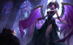 Картинка girl, fantasy, game, cathedral, wings, crown, angel, League of Legends, digital art, artwork, dark angel, …