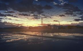 Картинка вода, закат, дома, рисовые поля