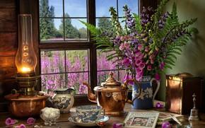 Картинка цветы, стиль, книги, лампа, букет, чайник, окно, кружка, чашка, сахар, натюрморт, папоротник, дигиталис, наперстянка