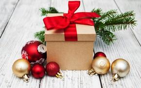 Картинка украшения, подарок, шары, Новый Год, Рождество, christmas, balls, merry, decoration, gift box, fir tree, ветки …