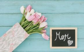 Картинка цветы, фон, голубой, букет, тюльпаны, розовые, белые
