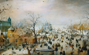 Картинка масло, картина, 1609, Хендрик Аверкамп, Hendrick Avercamp, Зимний пейзаж с ледовыми развлечениями