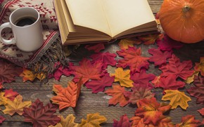 Картинка осень, листья, цветы, фон, дерево, кофе, colorful, чашка, книга, wood, background, autumn, leaves, cup, coffee, …
