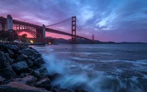 Картинка пейзаж, закат, мост, пролив, камни, Калифорния, прибой, Сан-Франциско, Золотые ворота, США, San Francisco, Fort Point, …