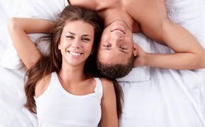 Картинка девушка, счастье, улыбка, пара, мужчина, влюбленные