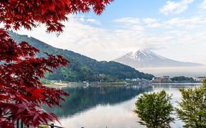 Картинка Озеро, Япония, Гора, Берег, Фудзи, Пейзаж