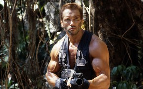 """Картинка оружие, джунгли, актер, Хищник, Predator, Арнольд Шварценеггер, Arnold Schwarzenegger, 1987, сцена из фильма, Alan """"Dutch"""" …"""