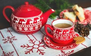 Картинка снежинки, красный, стол, фон, настроение, праздник, чай, новый год, рождество, чайник, печенье, чаепитие, кружка, чашка, …