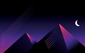 Картинка Минимализм, Стиль, Пирамиды, Пирамида, Style, Illustration, Месяц, Synth, Retrowave, Synthwave, Futuresynth
