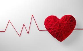 Картинка клубок, креатив, фон, сердце, красные, нитки, День святого Валентина, пульс