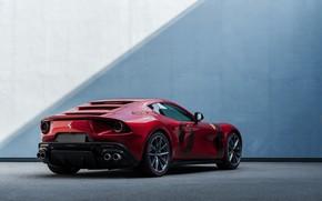 Картинка стена, купе, тень, Ferrari, V12, берлинетта, 2020, двухдверное, спорткупе, Omologata, 812 Superfast