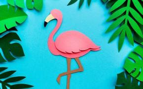 Обои листья, фон, фламинго