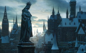 Картинка город, здания, крыши, статуя, winter