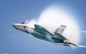 Картинка Истребитель-бомбардировщик, Эффект Прандтля — Глоерта, F-35, Lockheed Martin F-35A Lightning II, HESJA Air-Art Photography, ВВС …