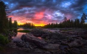 Обои лес, закат, речка, Финляндия, Kuusamo