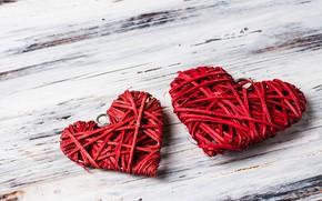 Картинка любовь, сердце, сердечки, red, love, wood, romantic, hearts, valentine's day