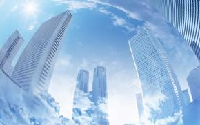 Картинка облака, город, здания, фото арт