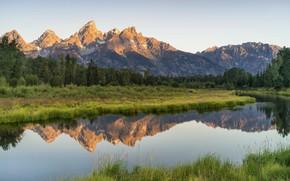 Картинка трава, пейзаж, горы, природа, озеро, красота