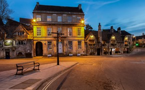 Картинка огни, улица, Англия, вечер, Уилтшир, Брэдфорд-на-Эйвоне