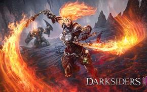 Картинка девушка, огонь, мечи, Darksiders 3