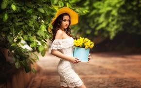 Картинка девушка, платье, шляпка, жёлтые тюльпаны, Natia Gachava, Kakulia Tako