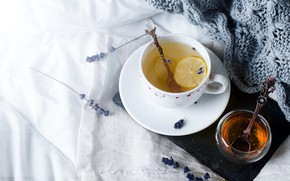 Картинка лимон, чай, мед, чашка, лаванда