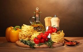Обои макароны, масло, помидоры, перец