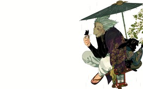 Картинка дождь, зонт, парень, Ванпачмен, Onepunch-Man
