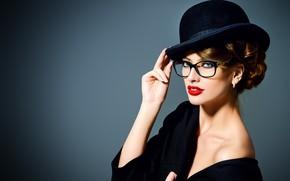 Картинка девушка, стиль, шляпа, макияж, очки