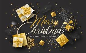 Картинка новый год, Зима, Рождество, Золото, открытка