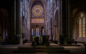 Картинка интерьер, Кафедральный Собор, Франция, Saint-Malo Cathedral, Собор Сен-Венсан, Cathedral St-Vincent, France, Сен-Мало, Altar