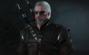 Картинка доспехи, очки, броня, мечи, ведьмак, Геральт, hunter, протагонист, The Witcher 3 Wild Hunt, Geralt, Ведьмак …