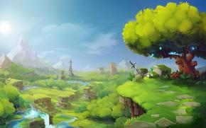 Картинка зелень, небо, пейзаж, ландшафт, Hytale